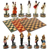 Completo scacchi tematici musicisti jazz vs musicisti rock, Re h cm.8 e scacchiera Italfama, similcuoio, colore a scelta, cm. 40x40, campo da gioco cm. 36x36, casa cm. 4,5x4,5.