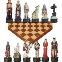 Completo scacchi tematici personaggi della mitologia nordica, Re h cm.8, e una scacchiera Rechapados Ferrer De luxe in legno intarsiato noce  e acero, cm. 45x45. casa mm.40x40.