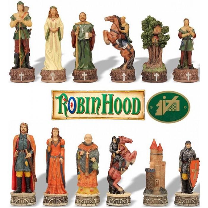 Scacchi artistici tematici Italfama Firenze, in resina, dipinti a mano, figure del mondo di Robin Hood. Re ht. cm.8. base diametro cm.2,5. Originale Idea regalo!