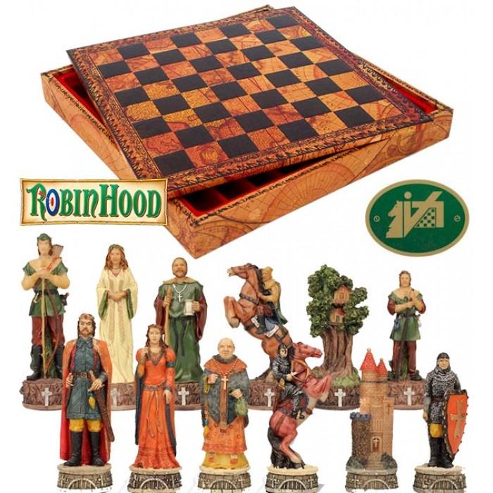 Scacchi artistici tematici Italfama figure del mondo si Robin Hood. Re h cm.8, con scacchiera, Backgammon con contenitore Italfama  in simil cuoio colorato antica carta geografica, dimensioni cm.35x35x4 con casa mm.35.