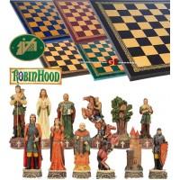 Scacchi artistici tematici Italfama figure del mondo si Robin Hood. Re h cm.8, con scacchiera Italfama, similcuoio, colore a scelta, cm. 33x33, casa cm. 3,5x3,5.