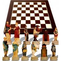 Scacchi artistici tematici Italfama guerre Romani contro Greci, Re h cm.8, con scacchiera simil legno ebano, dimensioni cm.40x40, casa mm.40.