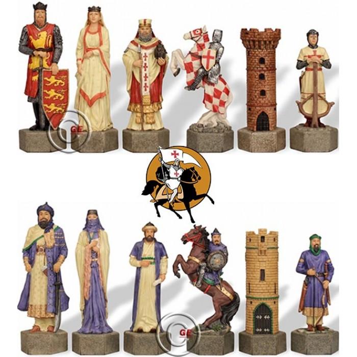 Scacchi artistici tematici Italfama, figure delle guerre Sante Crociati vs Saraceni. Re cm.4,3, misura piccola.Simpatica Idea regalo!
