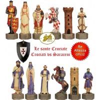 Scacchi artistici tematici Italfama, figure delle guerre Sante Crociati vs Saraceni. Re cm.12, misura grande. Elegante e preziosa idea regalo.