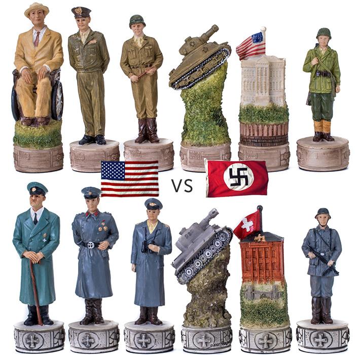 Scacchi artistici tematici in resina, pitturati a mano, Seconda Guerra Mondiale Americani vs Tedeschi. Re ht. cm.8. base diametro cm.2,5.