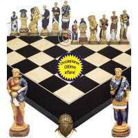 Completo scacchi artistici tematici in resina Spartaco vs Roma. Re cm.13, 5 abbinati ad una scacchiera Rechapados De Luxe. Elegante Idea regalo!