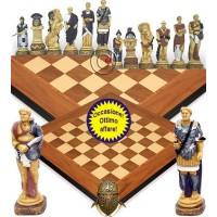 Completo scacchi artistici tematici in resina Spartaco vs Roma. Re cm.13, 5 abbinati ad una scacchiera Rechapados Walnut De Luxe. Elegante Idea regalo!