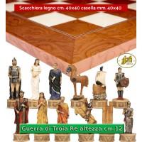 Scacchi artistici tematici Italfama, figure della guerra di Troia. Re cm.12, abbinati ad una prestigiosa scacchiera Rechapados De Luxe in legno intarsiato radica di frassino e acero cm. 40x40 casella m. 40x40. Elegante Idea regalo!