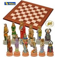 Scacchi artistici tematici, I segni Zodiacali, Re h cm.8, e scacchiera in legno, Londra, cm.45x45x1,3, casa mm.45x45.