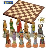 Scacchi artistici tematici, I segni Zodiacali. Re h cm.8 e scacchiera in legno, Kopenhagen, cm.40x40x1,3, casa mm.45x45.