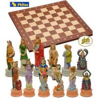 Scacchi artistici tematici, I segni Zodiacali. Re h cm.8 e scacchiera in legno, con coordinate, Londra, cm.40x40x1,3, casa mm.40x40.