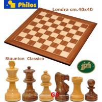Completo Scacchiera Londra legno ontano e acero, misure cm. 40x40x1,3, casa mm.40, con set di scacchi Italfama Staunton acero e palissandro Re altezza mm.85, base mm.34.