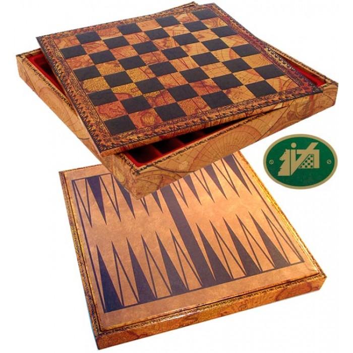 Scacchiera e Backgammon con contenitore porta scacchi Italafama. Scacchiera in simil cuoio colorato antica carta geografica, dimensioni cm.35x35x4 con casa mm.35.