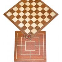 Scacchiera Dal Negro in legno finitura noce ed acero cm.35x35, campo gioco cm.31x31, casa mm.40x40, spessore cm.1. Doppia faccia.
