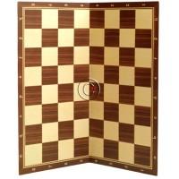 Scacchiera pieghevole in cartoncino tinto legno olimpionica da torneo cm.50x50, casa mm.55x55 con coordinate.