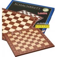 Scacchiera legno intarsio ontano naturale e acero, olimpionica da torneo, con coordinate. Dimensioni cm. 55x55, casa mm. 55x55, spessore cm.1,3.