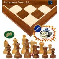 Completo scacchiera legno mogano e acero Rechapados Ferrer, cm. 40x40x1,3, casa mm.45, con Scacchi Classico Italfama legno palissandro e acero, torniti e rifiniti a mano. Re h m85, base Ø m.34.