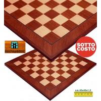 Scacchiera Rechapados Ferrer Mogano De Luxe Diagonal , in legno intarsiato Mogano e Acero cm. 45x45x1,3, casa mm.45. Prezzo sotto costo!