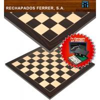 Scacchiera in legno Rechapados Ferrer Macassar De Luxe intarsio macassar ,acero e ebano, cm. 40x40, spessore cm. 1,3, casa mm.40. Prezzo speciale e omaggio.