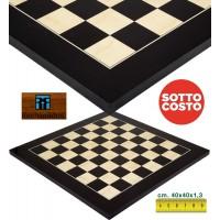 Scacchiera in legno intarsio anegre e acero Rechapados Ferrer Black De Luxe 1135-40 , cm. 40x40x1,3, casa mm.40, made in Spagna.finitura lucida e anti invecchiamento