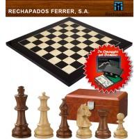 Completo scacchiera legno anegre e acero Rechapados Ferrer De Luxe , cm. 40x40x1,3, casa mm.40, con scacchi Sigismund legno sheesham e bosso Re h mm.76.Domino in omaggio