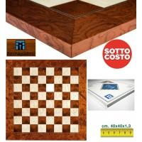 Scacchiera in legno radica intarsio frassino e acero Rechapados Ferrer De Luxe cm.40x40x1,3, casa mm.40 made in Spagna. Finitura lucida e anti invecchiamento