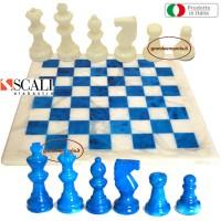 Scali Alabastro raffinata scacchiera e scacchi in Alabastro di Volterra colore bianco e turchese. Scacchiera  cm. 37 x 37. Scacchi Re h. cm. 7,6. Prodotto Italiano.