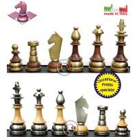 Set eleganti scacchi Staunton stilizzati in legno acciaio e ottone Italfama. Re h cm.9, base  cm.2,8. Made In Italy. Prezzo speciale!