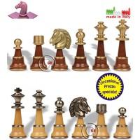 Set prestigiosi scacchi Staunton XL in legno acciaio e ottone Italfama. Re h cm.12,7, base Ø cm.4,5. Made in Italy. Prezzo speciale!