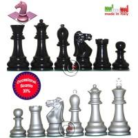 Set eleganti scacchi Staunton in legno pregiato Italfama, finitura laccato argento e nero. Re h cm.9, base Ø cm.3,5. Made In Italy. Prezzo speciale!