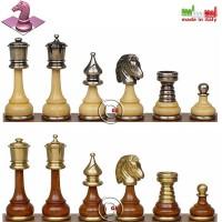 Set eleganti scacchi Staunton Persiano in legno acciaio e ottone Italfama. Re h cm.9, base Ø cm.3,2. Made In Italy. Prezzo speciale!