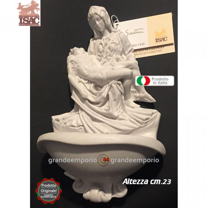 Acquasantiera in polvere di marmo apuano bianco e resina di A.Santini cm.23, con riproduzione della Pietà di Michelangelo. Raffinata idea regalo. Prodotto Isac statue made italy Cecina Toscana.
