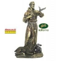 Statua San Francesco di Assisi in resina bronzata,  rifinita a mano in ogni minimo dettaglio,  altezza cm.22. Elegante prodotto Italfama Firenze. SR76058
