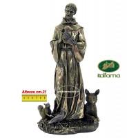 Statua San Francesco di Assisi in resina bronzata,  rifinita a mano in ogni minimo dettaglio,  altezza cm.31. Elegante prodotto Italfama Firenze. SR75047