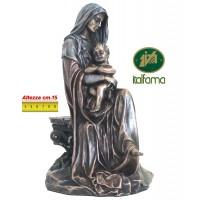 Statua Madonna con Bambino in resina bronzata,  rifinita a mano in ogni minimo dettaglio,  altezza cm.15. Elegante prodotto Italfama Firenze. SR74728