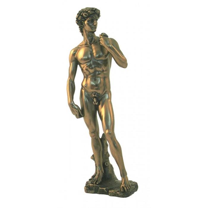 Statua del David di Michelangelo Buonarroti in resina bronzata rifinita a mano cm.32. Elegante prodotto firmato Italfama Firenze.
