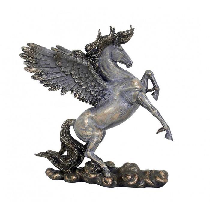 Statua di Pegaso cavallo alato, in resina bronzata rifinita a mano cm.28 Italfama Firenze