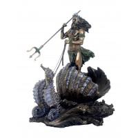 Statua Poseidone ( Nettuno ) Dio del mare, in resina bronzata rifinita a mano misure cm.26x30. Italfama Firenze SR71068