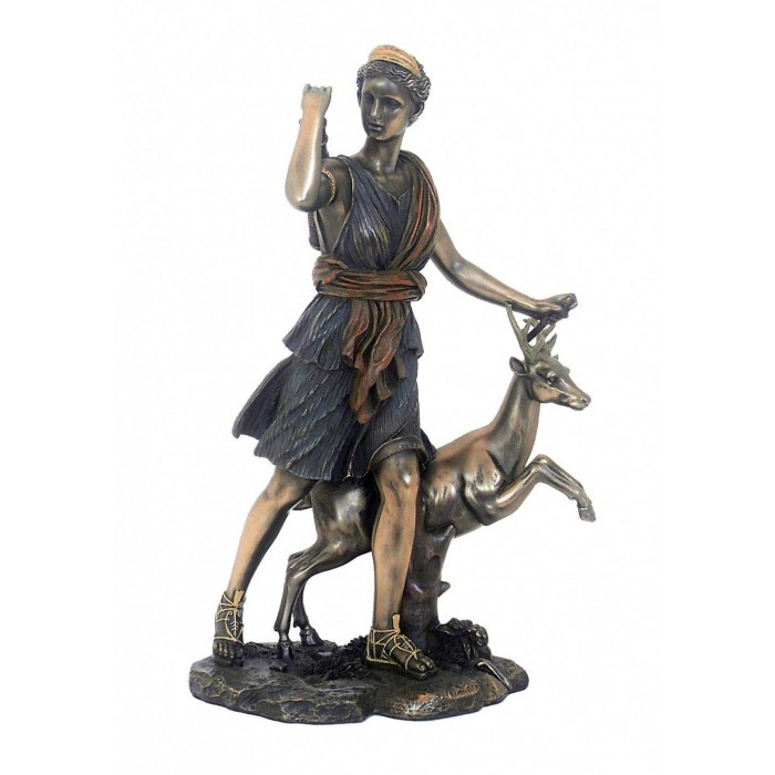 Statua di Artemis-Diana dea della caccia, nella mitologia Romana, in resina bronzata rifinita a mano cm.29.