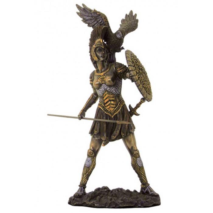 Statua di Athena, dea greca della guerra, in resina bronzata rifinita a mano cm.31. Elegante prodotto firmato Italfama Firenze.