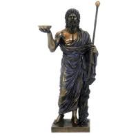 Statua in resina bronzata raffigurante Eculapio Dio della Medicina. Statua  interamente rifinita a mano in ogni dettaglio e bronzata, altezza cm.33. Elegante idea regalo della Italfama di Firenze-Italia. SR72739.