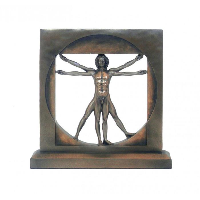 Statua Uomo Vitruviano di Leonardo da Vinci, riproduzione, in resina bronzata rifinita a mano cm. 22x22. Elegante prodotto firmato Italfama Firenze.