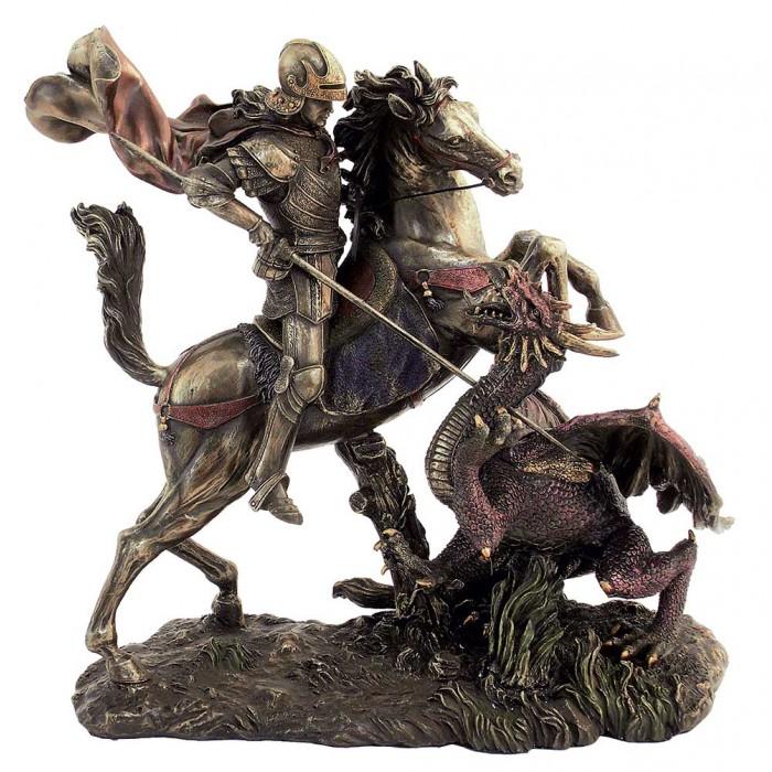 Statua San Giorgio e il drago, in resina bronzata rifinita a mano cm.25X15XH28 firmata Italfama Firenze SR73533