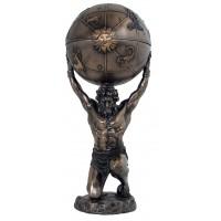 Italfama Firenze statua di Atlas,  Atlante Titano che regge il mondo, in resina bronzata rifinita a mano cm.32. SR 74773