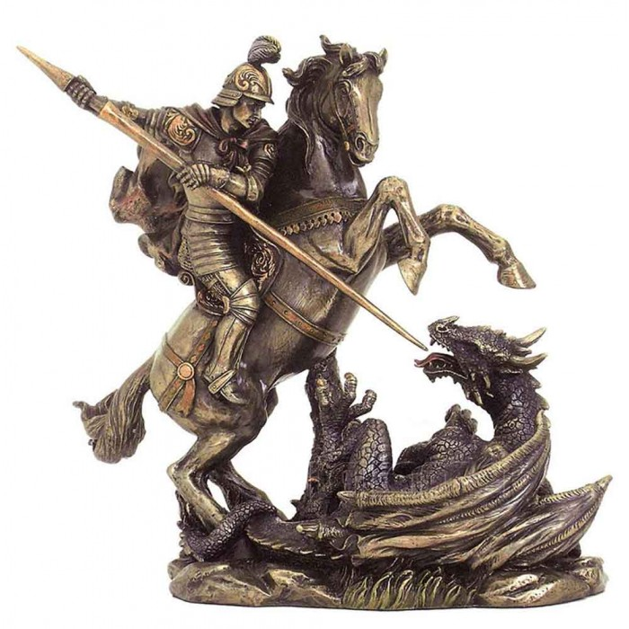 Statua in resina bronzata riproducente San Giorgio e il drago. Statua interamente rifinita a mano in ogni dettaglio, altezza cm,22. Elegante idea regalo della Italfama di Firenze-Italia. SR75858