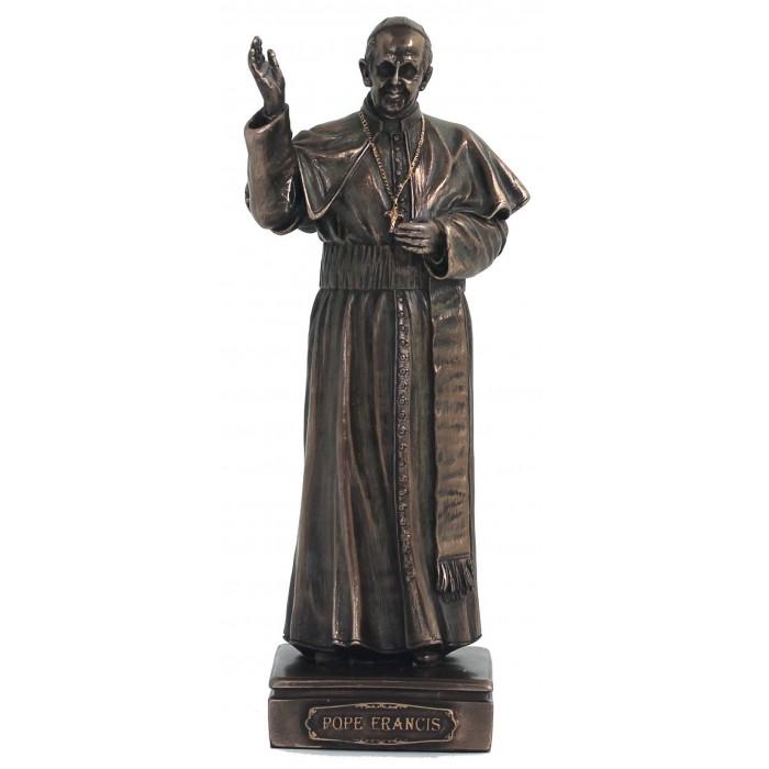 Statua Papa Francesco in resina bronzata altezza cm 16 peso Elegante prodotto Italfama Firenze.