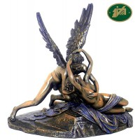 Statua Amore e Psiche di A. Canova riproduzione in resina bronzata altezza cm. 30x29. Elegante prodotto firmato. Italfama Firenze.