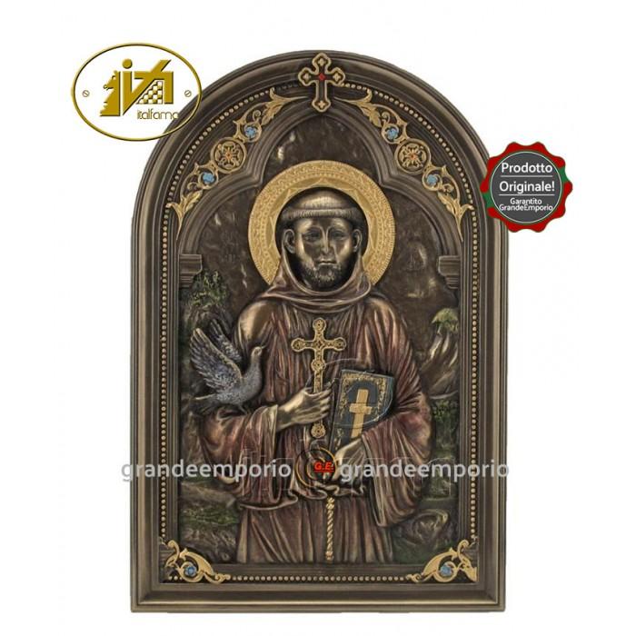 Icona in resina bronzata raffigurante San Francesco. Icona interamente rifinita a mano in ogni dettaglio, altezza cm.23. Elegante idea regalo della Italfama di Firenze-Italia. SR76567