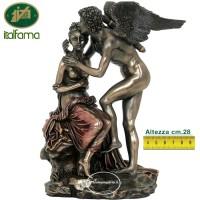 Statua di Cupido dio dell'amore, in resina bronzata rifinita a mano cm.28 Italfama Firenze