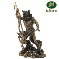 Statua di Zeus, dio dei tuono e dei fulmini in resina bronzata rifinita a mano cm.28, Italfama Firenze